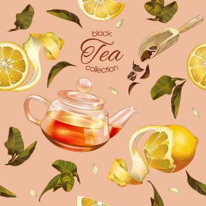 Vector black tea seamless pattern with transparent teapot, tea leaves and lemon. Design for black and fruit tea, drink menu, homeopathy, aromatherapy and health care products.Best for packaging design